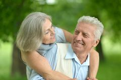 Senior couple in summer park Stock Photography