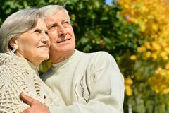 Senior couple in summer park Stock Photo