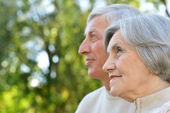 Senior couple in summer park Royalty Free Stock Photos