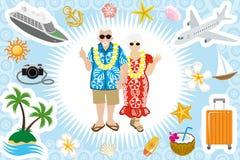 Senior couple Summer vacation set Royalty Free Stock Photos