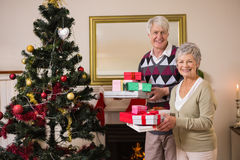 Senior couple swapping gifts by their christmas tree Royalty Free Stock Photo