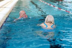 Senior couple swimming in pool. Happy healthy active senior couple having fun together in the swimming pool Stock Images