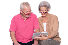 Senior couple with tablet Stock Photo