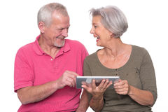 Senior couple with tablet Royalty Free Stock Photo