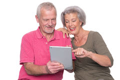 Senior couple with tablet Stock Photos
