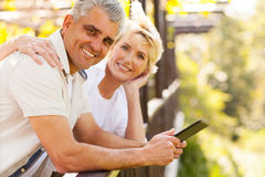 Senior couple tablet Stock Image