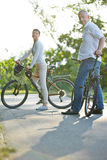 Senior couple taking bike trip in summer Stock Photography