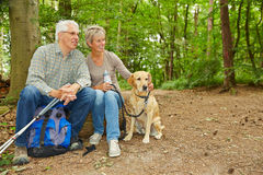 Senior couple taking a break in forest Royalty Free Stock Images