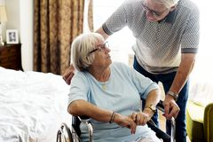 Senior couple taking care of each other Stock Photos