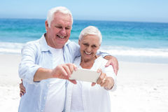 Senior couple taking a selfie Stock Image