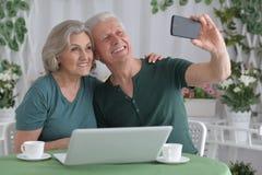 Senior couple taking selfie Royalty Free Stock Photos