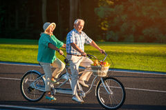 Senior couple on tandem bike. Bicycle with fruit basket. Lovers of fast ride. Racers on the main road Stock Photos