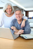 Senior couple and technology Stock Image