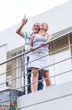 Senior couple terrace balcony modern house royalty free stock photography