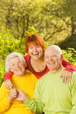 Senior couple with their daughter Stock Image