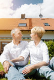 Senior couple and their garden home Stock Images