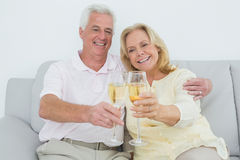 Senior couple toasting champagne flutes at home Stock Image