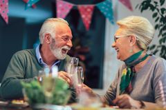 Senior couple toasting wine at home stock images