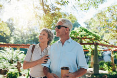 Senior couple together in a park Stock Photography