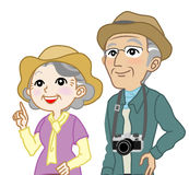 Senior couple Tourist Looking up - Waist Up, Isolated Royalty Free Stock Photos