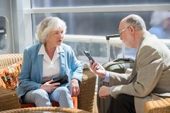 Senior couple of tourists royalty free stock photography