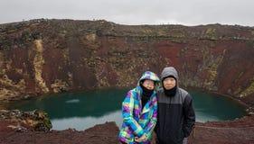 Senior couple travel to Iceland amazing retirement trip. Asian senior couple travel to Iceland amazing retirement trip Stock Photo