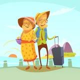 Senior Couple Traveling Illustration Stock Images