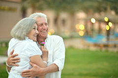Senior couple at tropic garden Stock Photo