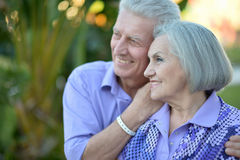 Senior couple at tropic  garden Royalty Free Stock Photography