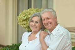 Senior couple at tropic garden Royalty Free Stock Photography