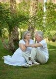 Senior couple at tropic garden Royalty Free Stock Photos
