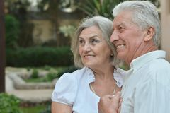 Senior couple at tropic Stock Images