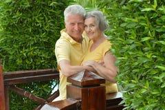 Senior couple at tropic hotel resort Royalty Free Stock Photos