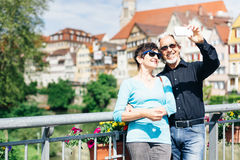 Senior Couple in Tuebingen, Germany. Senior couple enjoying their trip to Tuebingen, Germany Stock Photography