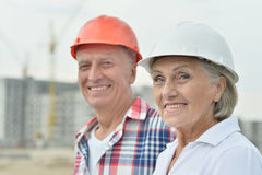Senior couple in under construction Stock Photography
