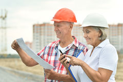 Senior couple in under construction Royalty Free Stock Photo