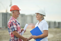 Senior couple in under construction Stock Image