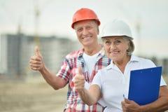 Senior couple in under construction Stock Photo