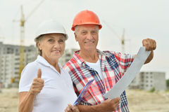 Senior couple in under construction Royalty Free Stock Images