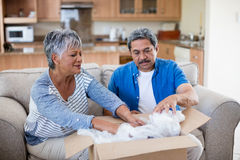 Senior couple unpackaging cardboard box in living room. At home Royalty Free Stock Photo