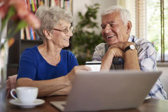 Senior couple using laptop Royalty Free Stock Photo