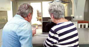 Senior couple using a laptop. To chat stock footage
