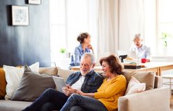 Senior couple using tablet in community center club. Senior couple using tablet in community center club, technology in everyday life concept stock image