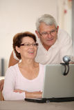 Senior couple and videocall Royalty Free Stock Photography