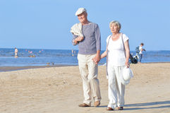 Senior couple on walk Royalty Free Stock Images