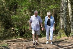Senior couple walking stock image