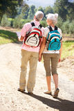 Senior couple walking along reading a map Stock Photos