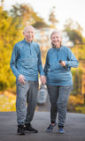 Senior couple walking along street on hill Royalty Free Stock Photos