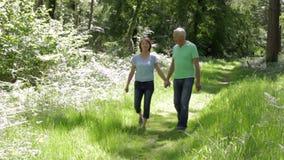 Senior Couple Walking Along Summer Woodland Path Together. Happy senior couple walk towards camera along leafy summer woodland path smiling and talking.Shot on stock footage
