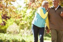 Senior Couple Walking Through Autumn Woodland Stock Photography